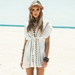 Peekaboo Pointelle Open Lace Swimsuit Cover Up