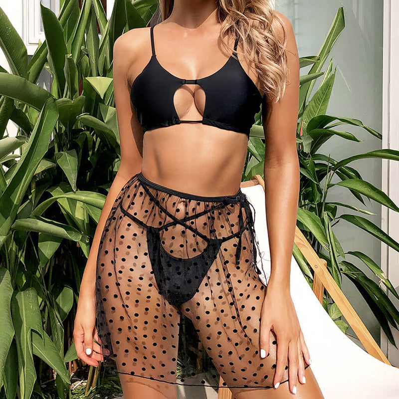 Polka Dot Coverup String Cutout Front Bikini Three Piece Swimsuit