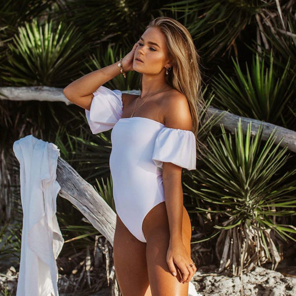 Puff Sleeve Off Shoulder One Piece Swimsuit