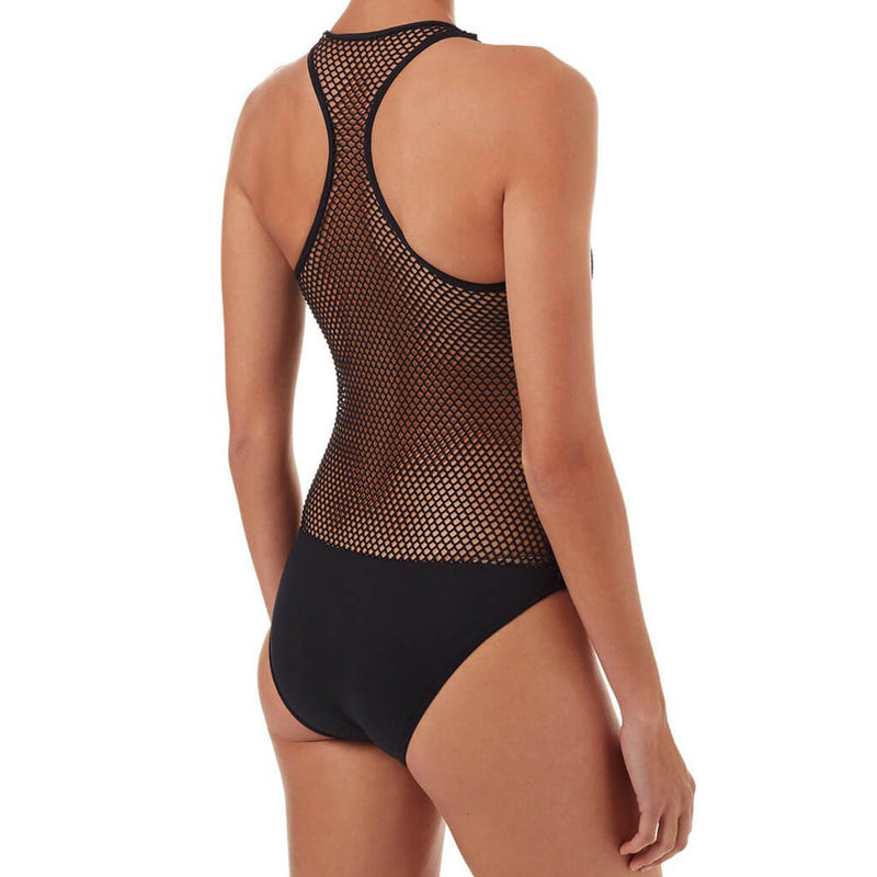 Racerback Zipper Front Openwork One Piece Swimsuit