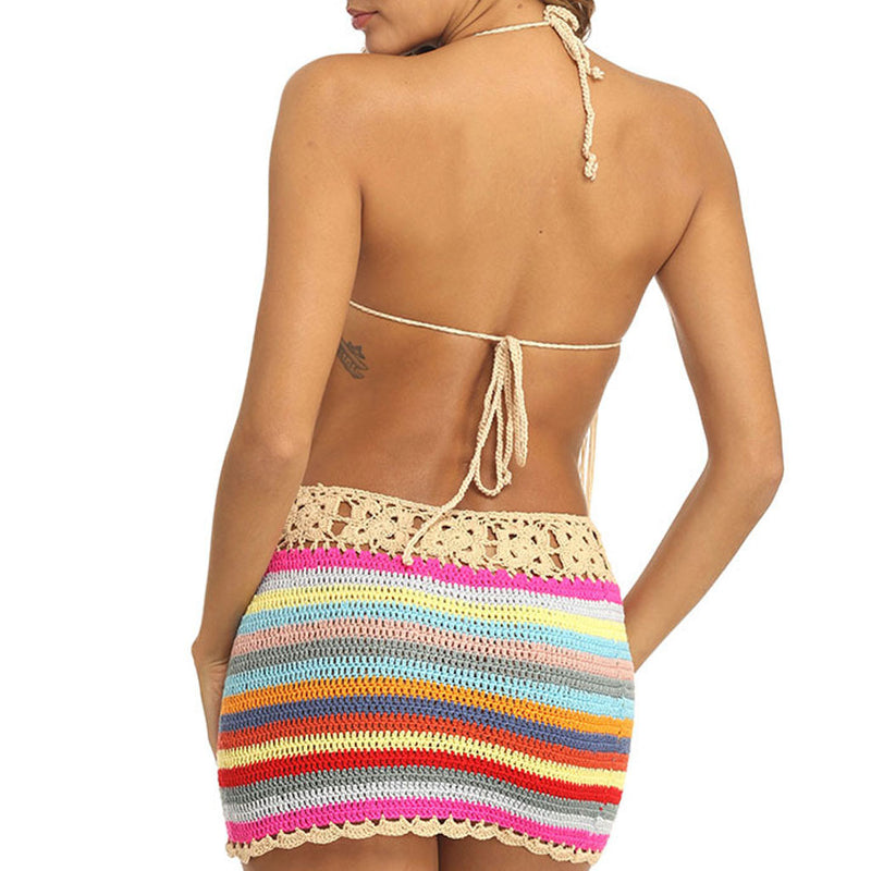 Rainbow Fringe Boho Crochet Halter Two Piece Cover Up Set