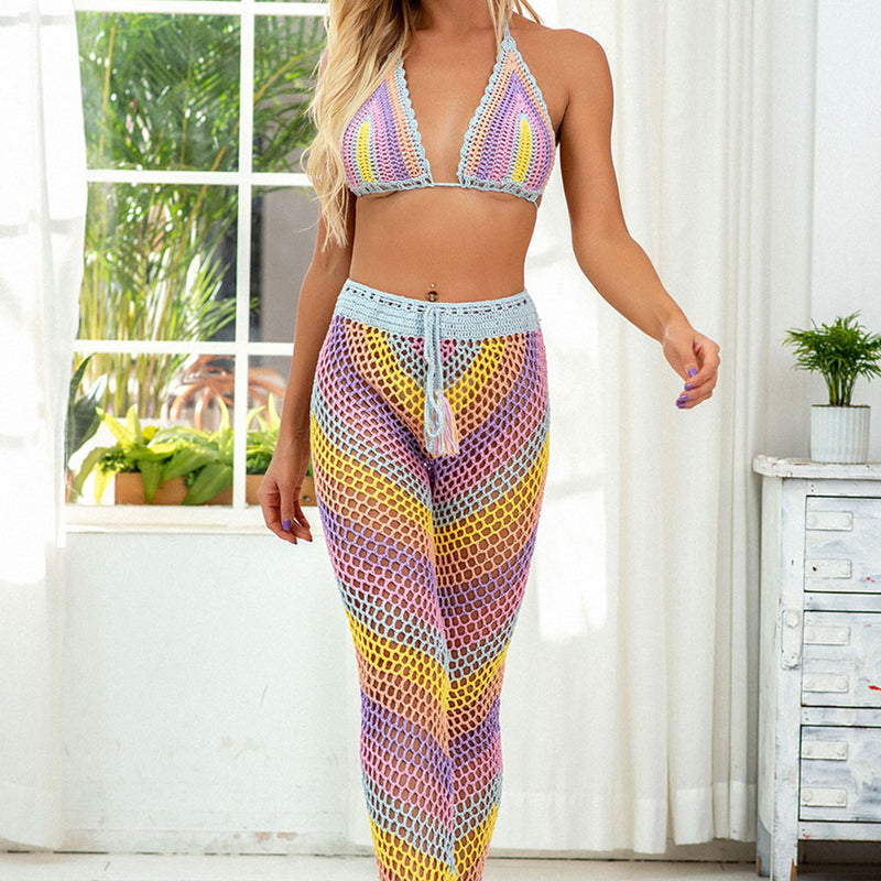 Rainbow Striped High Waist Crochet Slide Triangle Two Piece Cover Up Set