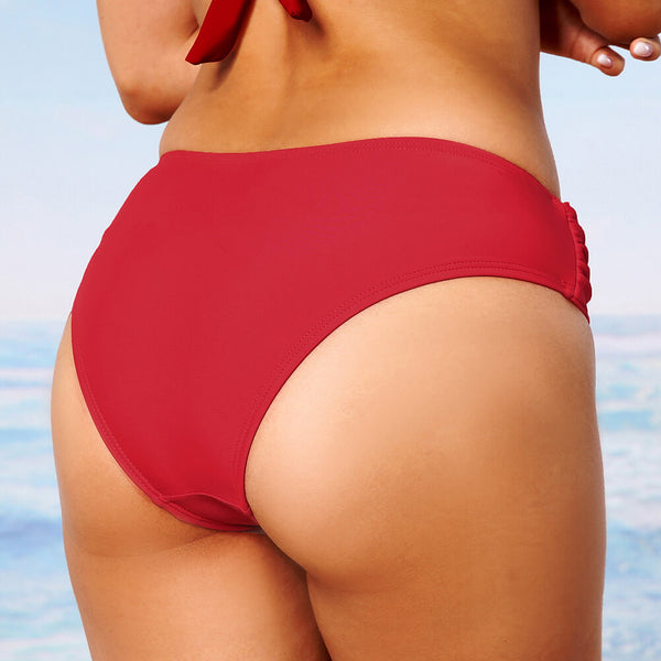 Retro Solid Color Ruched Low Rise Bikini Bottom
