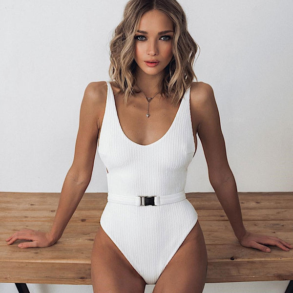 Ribbed Buckle Belted High Cut Low Back One Piece Swimsuit