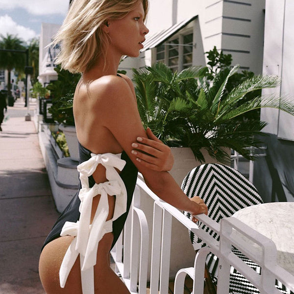 Ribbed Contrast Knotted Side One Shoulder One Piece Swimsuit