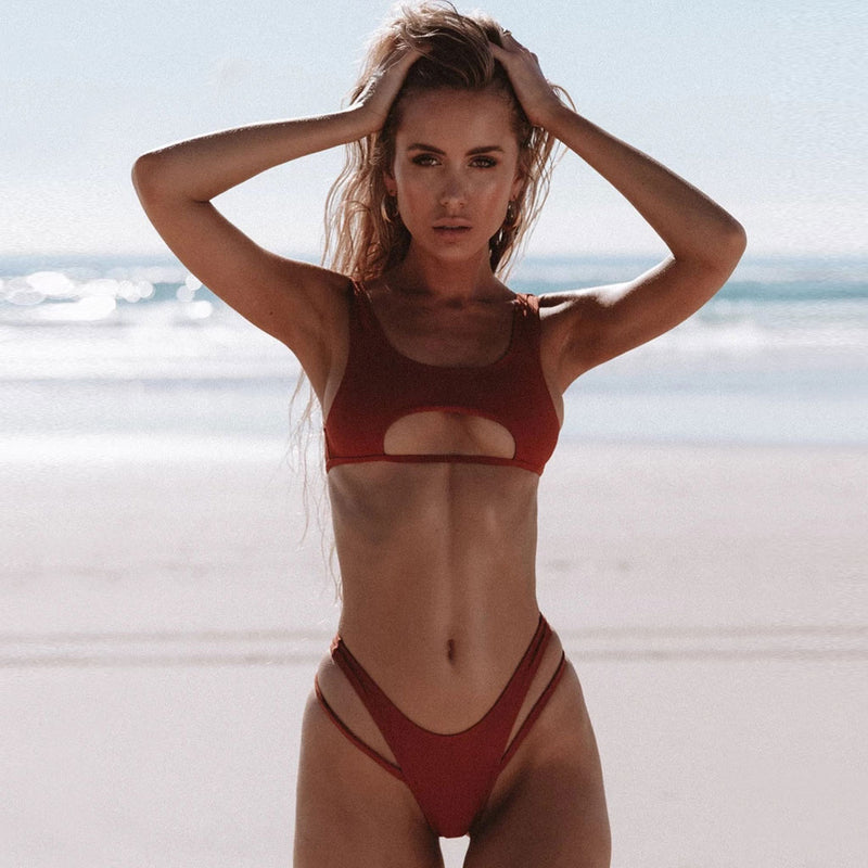 Ribbed Cutout Front High Cut Bikini Two Piece Swimsuit