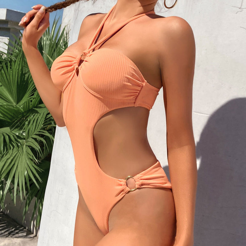 Ribbed Cutout Lace Up Back Scrunch Monokini One Piece Swimsuit