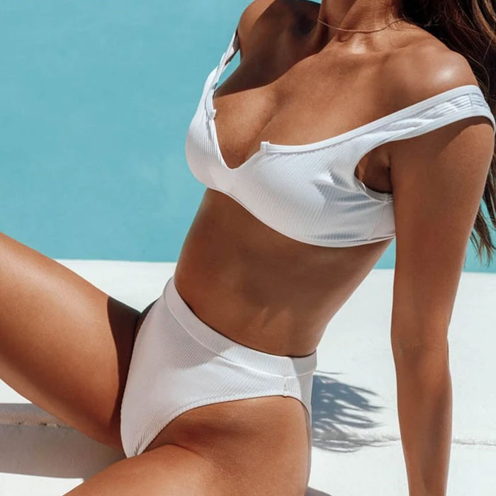 Ribbed High Cut High Waist V Front Bikini Two Piece Swimsuit