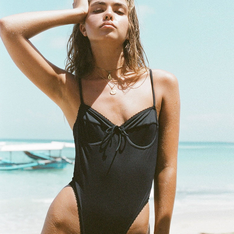 Ribbed High Cut Tie String Low Back One Piece Swimsuit