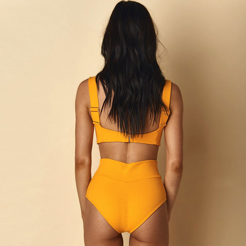 Ribbed High Waist Knotted Bikini Two Piece Swimsuit