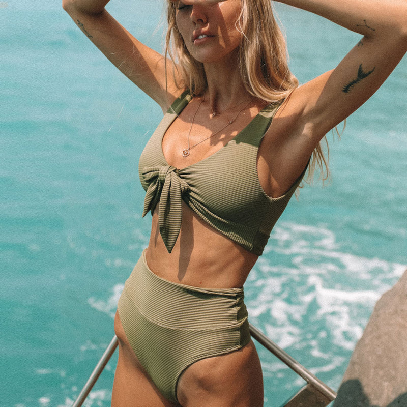 Ribbed High Waist Tie Front Bikini Two Piece Swimsuit