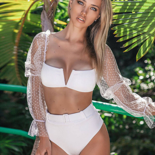 Ribbed High Waist V Wire Bandeau Bikini Two Piece Swimsuit