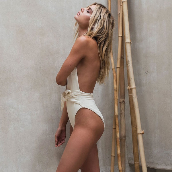 Ribbed Open Back Knotted High Cut Plunging Halter One Piece Swimsuit