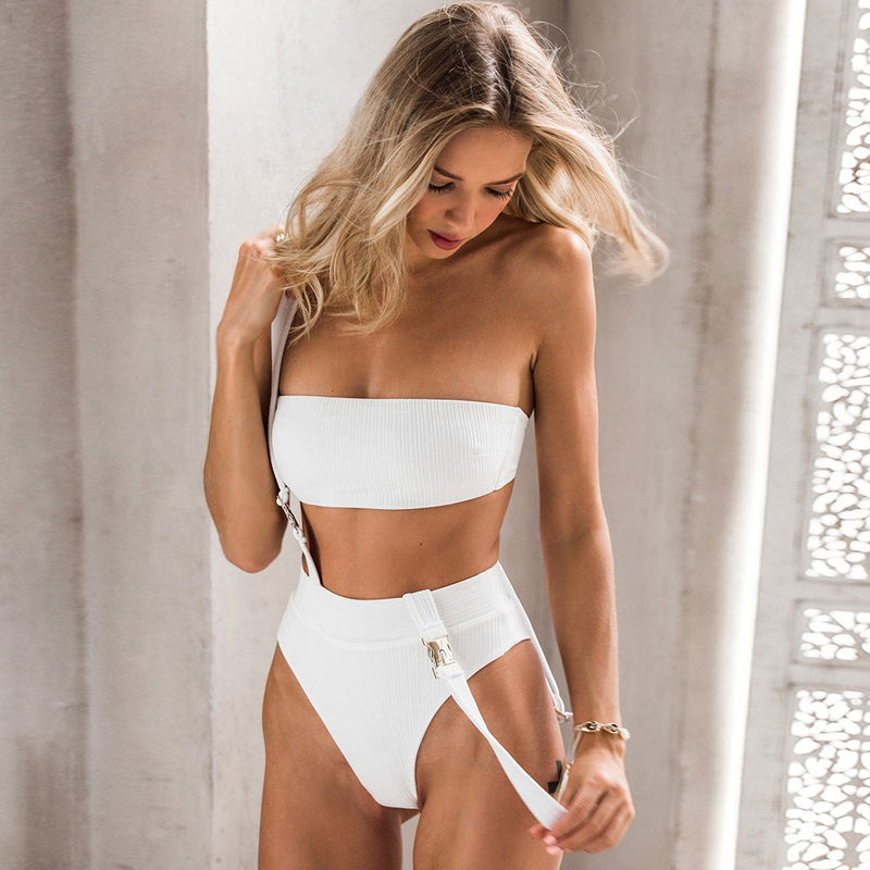 Ribbed Suspender High Cut Bandeau Bikini Two Piece Swimsuit