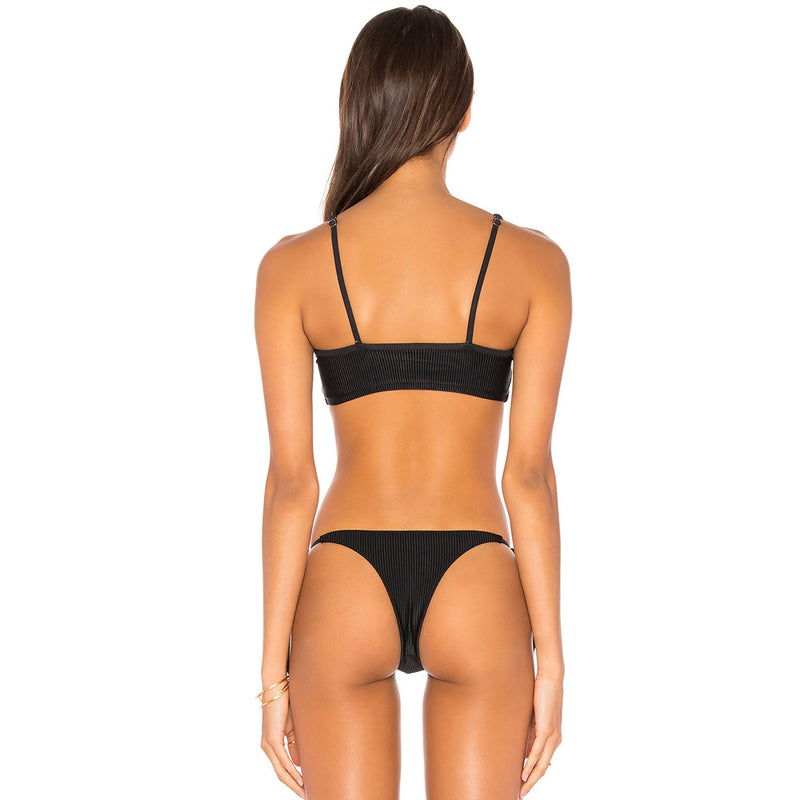 Ribbed Tie Front Tie String Side Bikini Two Piece Swimsuit