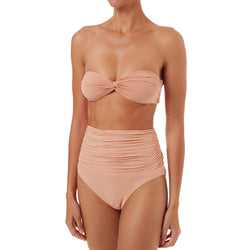 Ruched High Waist Twist Front Bandeau Bikini Two Piece Swimsuit