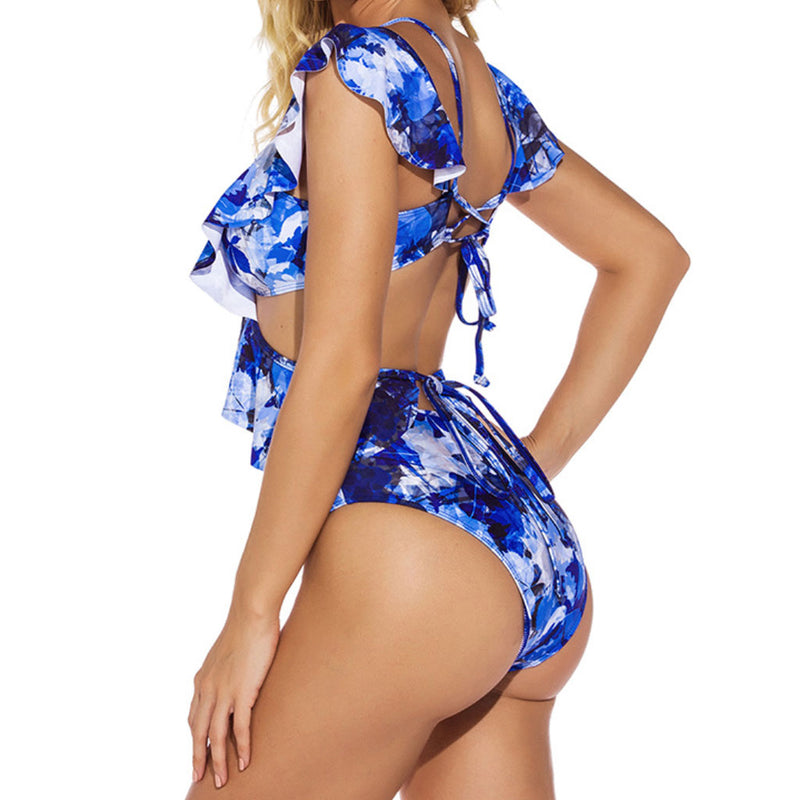 Ruffle Floral Printed Cross Front Cutout V Neck One Piece Swimsuit