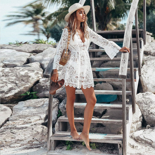 Scalloped Edge Tie String Crocheted Lace Coverup Dress