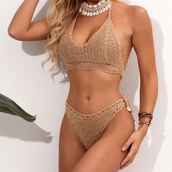 Scalloped Tie String Halter Crochet Bikini Two Piece Swimsuit