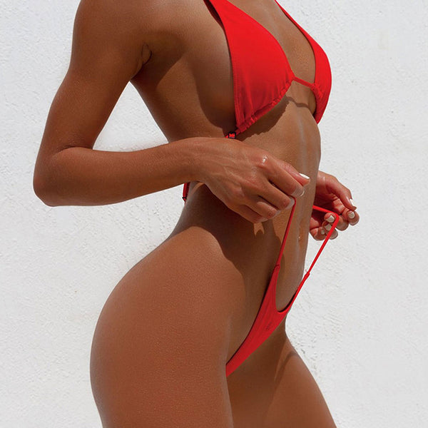 Sexy Cross Strappy Thong Monokini One Piece Swimsuit