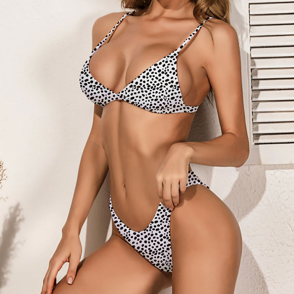 Sexy Leopard Printed High Cut Deep V Triangle Bikini Two Piece Swimsuit