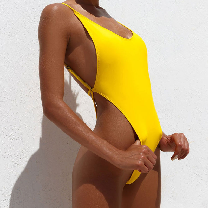 Sexy Open Back High Cut Thong One Piece Swimsuit