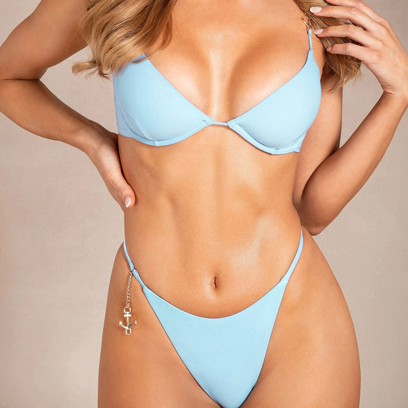 Sexy Solid Color Anchor String Underwire Bikini Two Piece Swimsuit