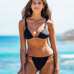 Sexy Solid Color Tie String Slide Triangle Bikini Two Piece Swimsuit