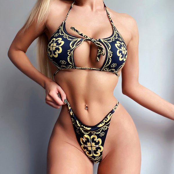 Sexy Tie String Cutout Front Brazilian Bikini Two Piece Swimsuit