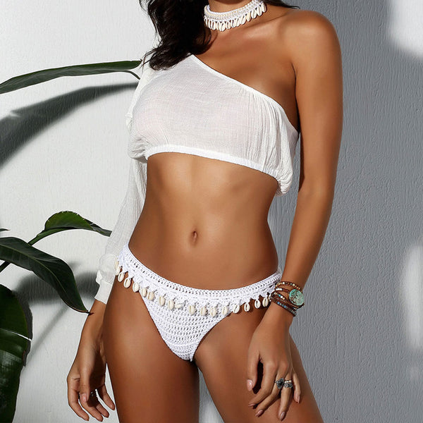 Shell Fringe Knotted One Shoulder Crochet Two Piece Cover Up Set