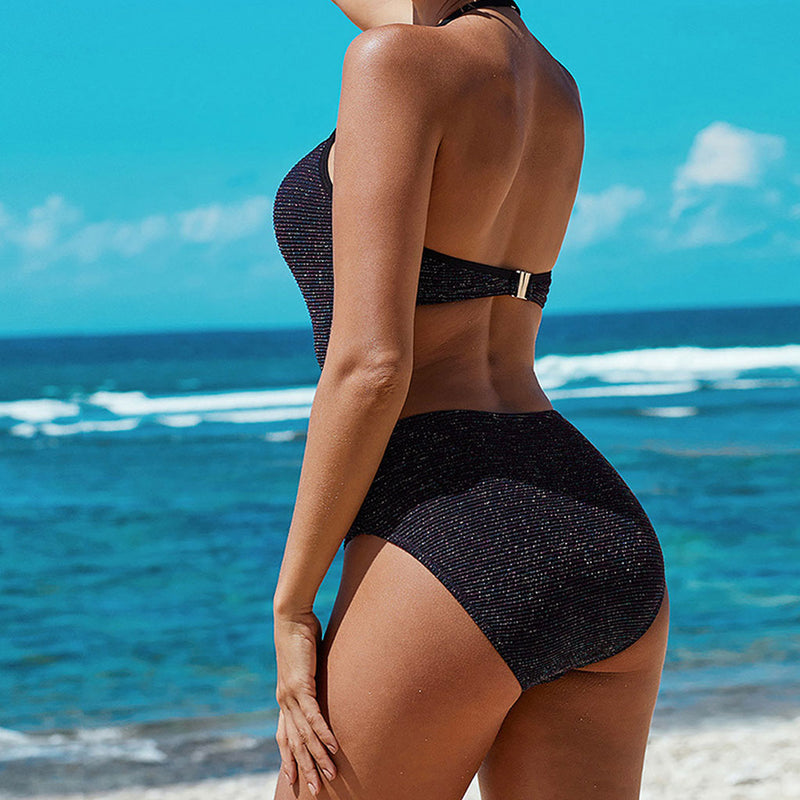 Shimmery Open Back Cutout Halter One Piece Swimsuit