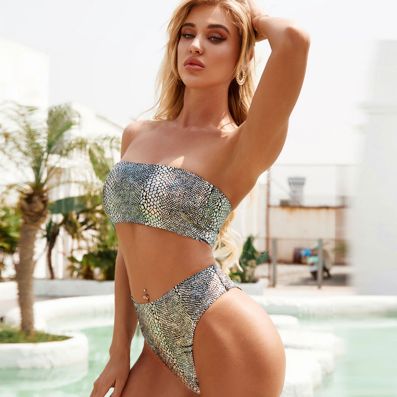 Shiny Snakeskin High Waist Bandeau Bikini Two Piece Swimsuit