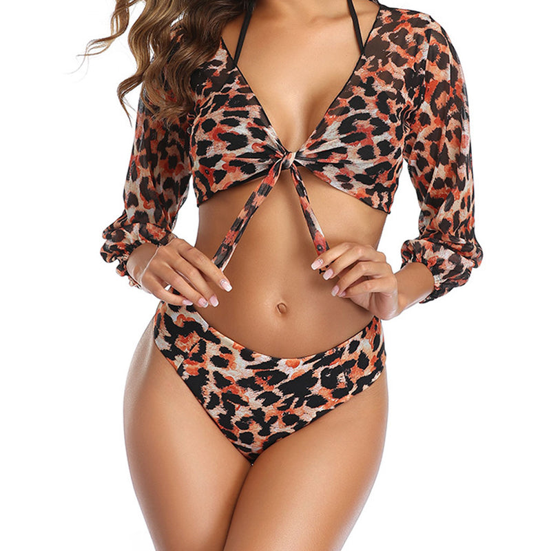 Sleeved Knotted Front Slide Triangle Bikini Three Piece Swimsuit