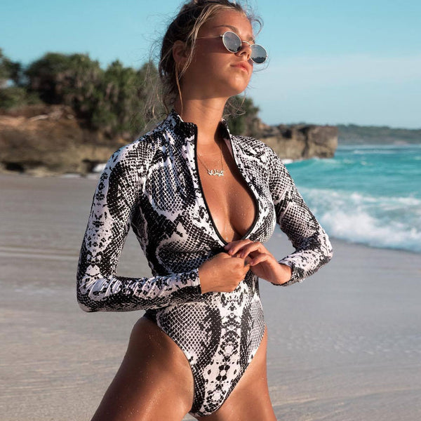 Snake High Cut Long Sleeve Zippered Rash Guard One Piece Swimsuit