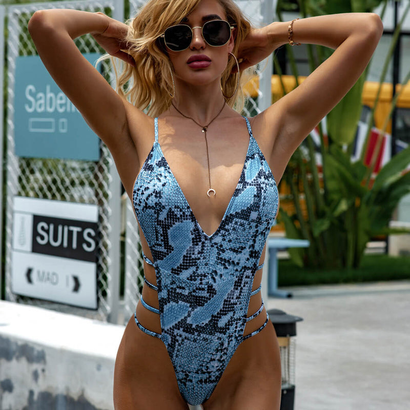 Snake Strappy Side High Cut One Piece Swimsuit