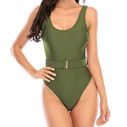 Solid Color High Cut Belt Low Back One Piece Swimsuit