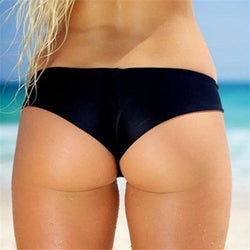 Solid Color Low Rise Cheeky Bikini Bottom