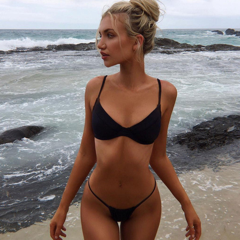 Solid Color String Bikini Two Piece Swimsuit