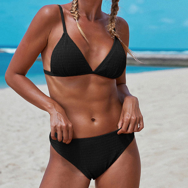 Solid Color Textured Triangle Bikini Two Piece Swimsuit