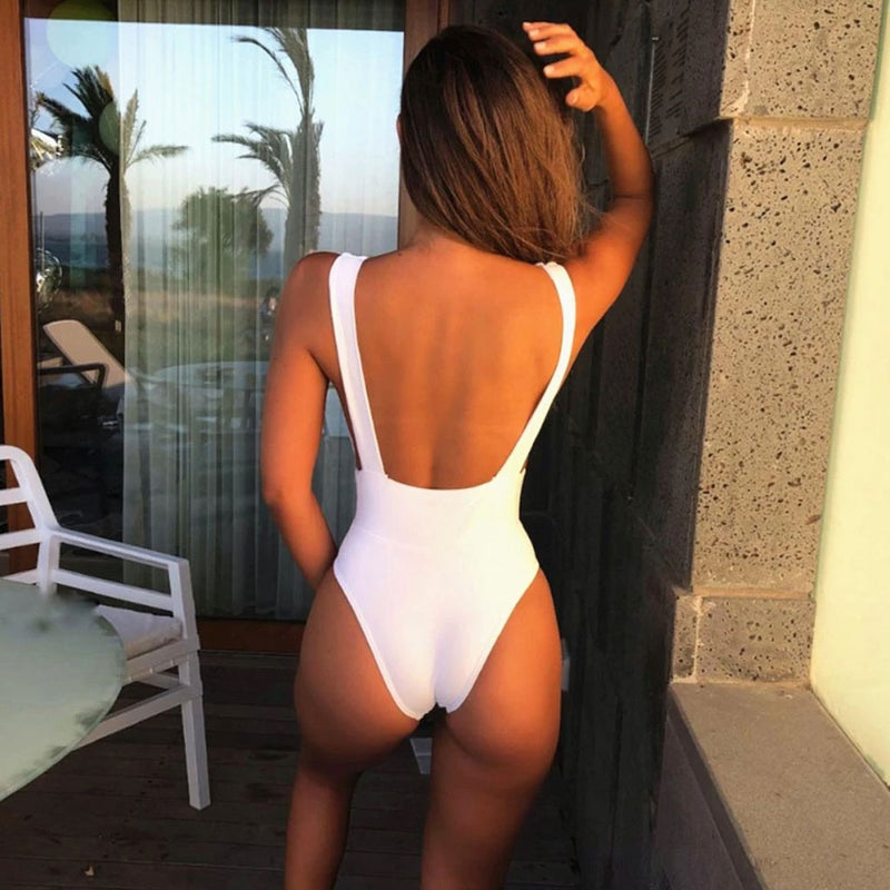 Solid Deep V Low Back One Piece Swimsuit
