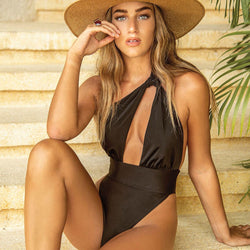 Solid High Cut Cutout Front One Shoulder One Piece Swimsuit