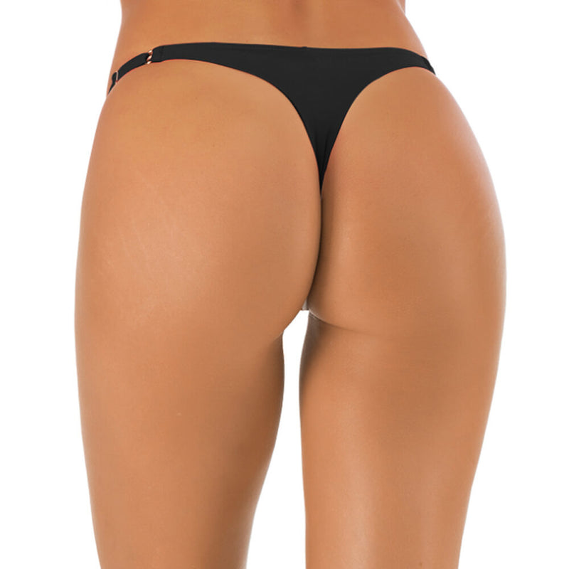 Solid Low Rise String Thong Bikini Bottom