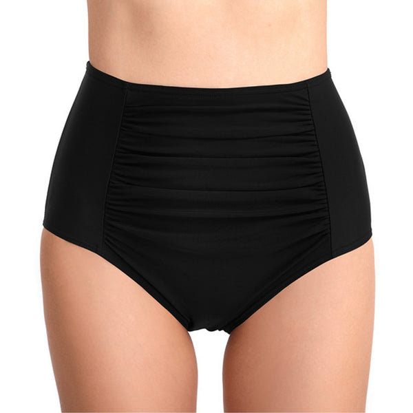 Solid Ruched High Waist Bikini Bottom