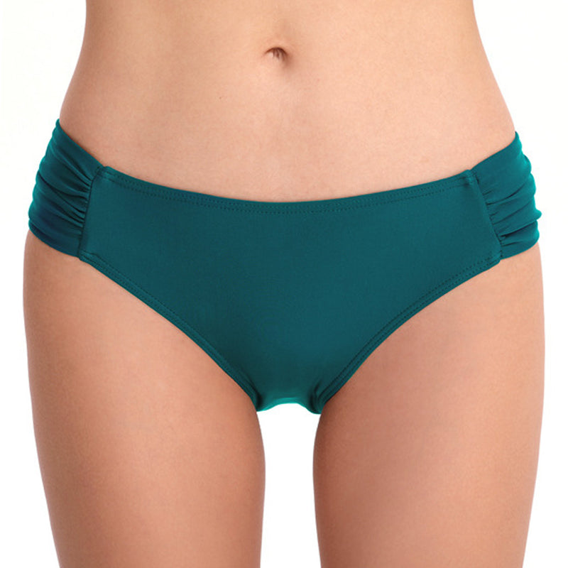 Solid Ruched Side Low Rise Bikini Bottom