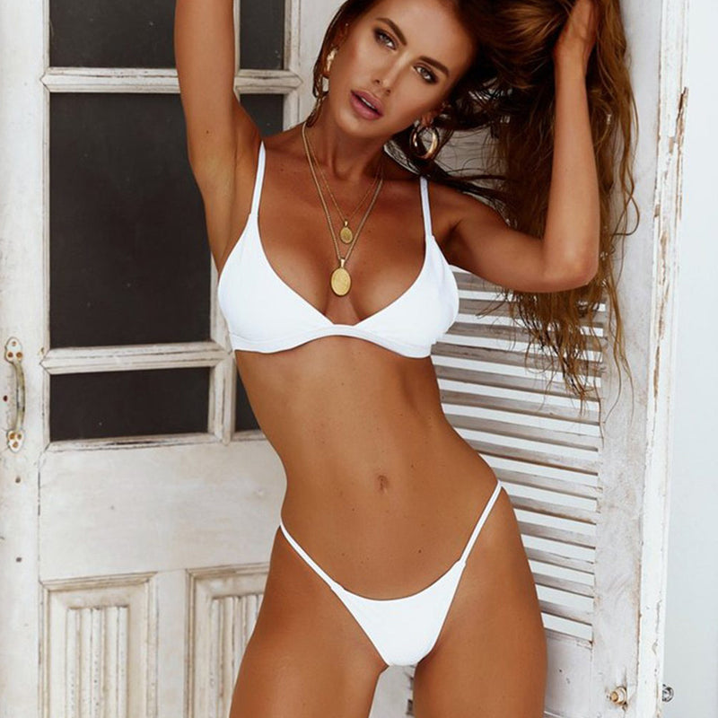 Solid String Triangle Bikini Two Piece Swimsuit