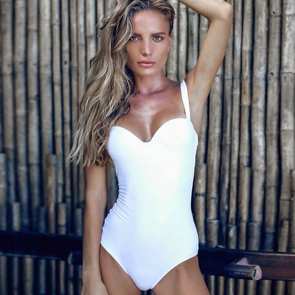 Solid Sweetheart Neckline One Piece Swimsuit