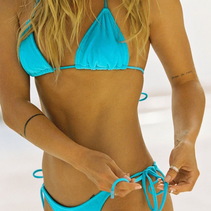 Solid Tie String Halter Slide Triangle Bikini Two Piece Swimsuit
