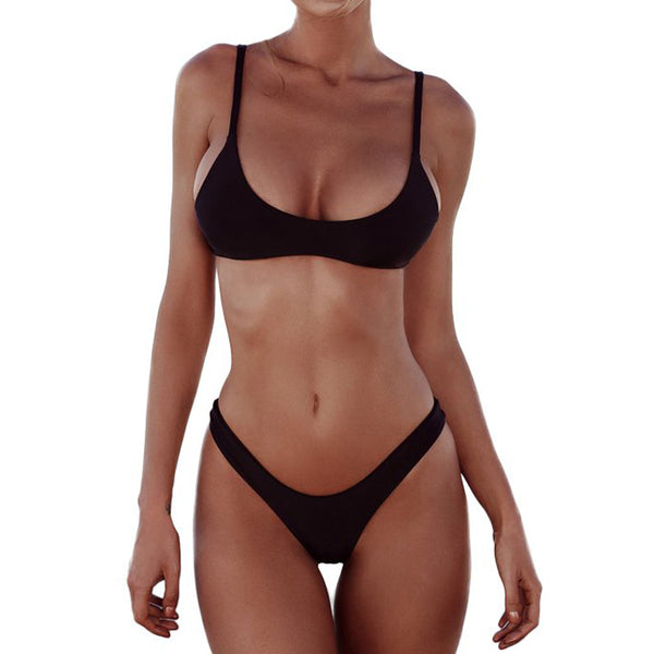 Sporty High Cut Scoop Bralette Bikini Two Piece Swimsuit