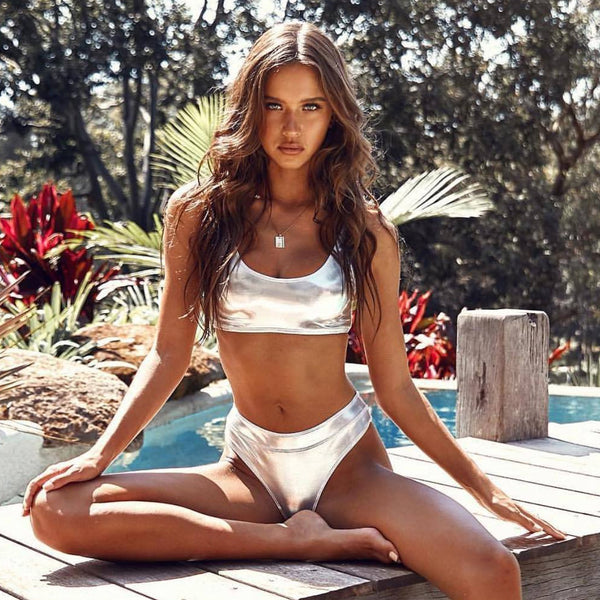Sporty Metallic Crop Bikini Two Piece Swimsuit