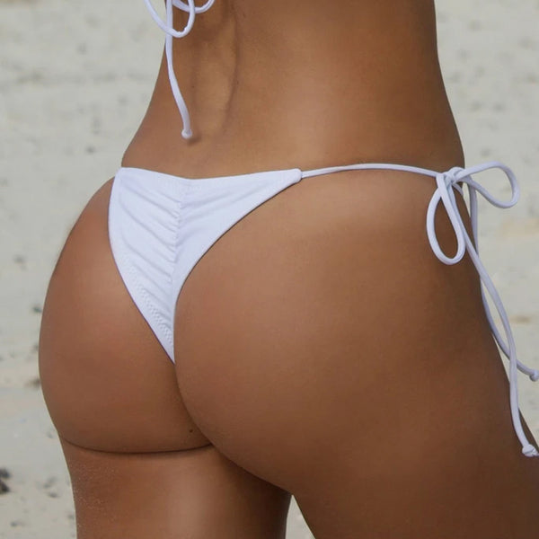 Srunch Back Tie Side String Cheeky Brazilian Bikini Bottom